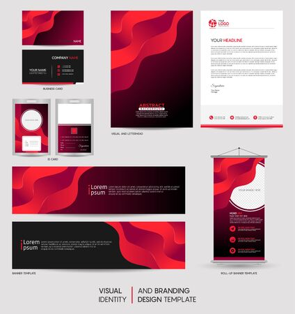 Illustration pour Modern colorful stationery mock up set and visual brand identity with abstract colorful dynamic background shape. Vector illustration mock up for branding, cover, card, product, event, banner, website. - image libre de droit