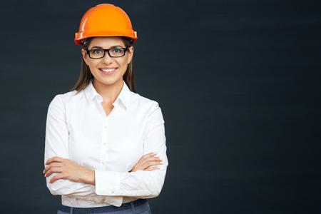 Photo pour Smilind business builder woman portrait on black. - image libre de droit