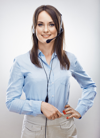 Photo for Operator call center. Customer service woman. Isolated. - Royalty Free Image
