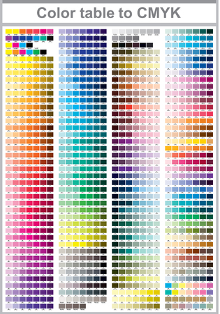 Ilustración de Color table Pantone to CMYK. Color print test page. Illustration CMYK colors for print. Vector color palette - Imagen libre de derechos