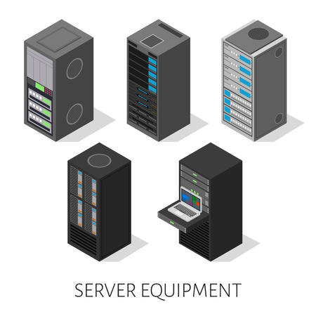 Illustration pour set of server equipment in isometric, perspective view isolated on a white background. - image libre de droit