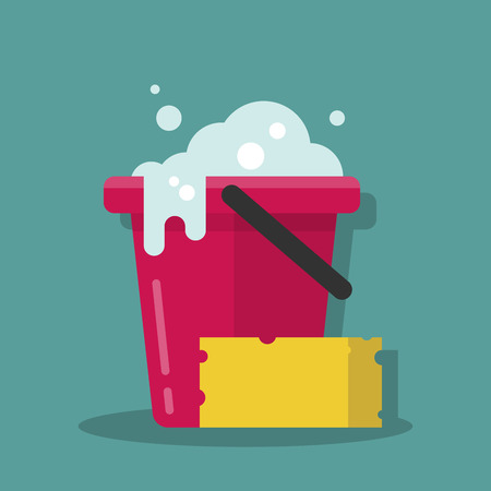 Illustration pour Plastic bucket with foam and a sponge for cleaning. Cleanin equipment. Vector illustration in a flat cartoon style. - image libre de droit