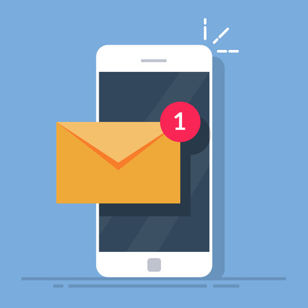 Ilustración de Notification of a new email on your mobile phone or smartphone. Mail icon. Flat vector illustration isolated on white background. - Imagen libre de derechos