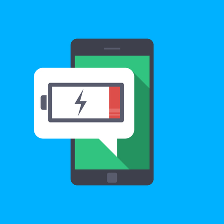 Ilustración de Message on the mobile phone about low battery charge. Little energy. Low charge on the mobile phone. You need to charge the portable device. Vector flat illustration isolated - Imagen libre de derechos