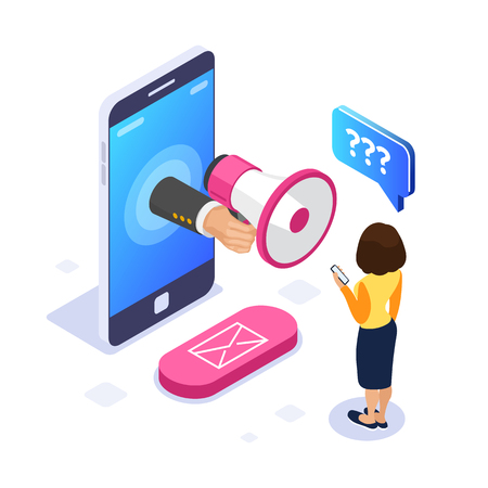 Ilustración de 3d Isometric voice message concept. Megaphone in hand. A woman listens to a voice message on the phone. Email button. Can use for web banner, infographics, hero images. Isolated - Imagen libre de derechos
