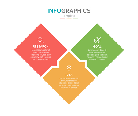 Illustration pour Vector infographic label template with icons. 3 options or steps. Infographics for business concept. Can be used for info graphics, flow charts, presentations, web sites, banners, printed materials. - image libre de droit
