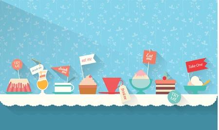 Ilustración de Sweets and dessert on the table - Imagen libre de derechos