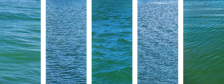 Foto de Panoramic water set of ocean seawater texture images on banner - Imagen libre de derechos