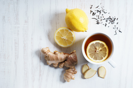 Photo for cup of tea with fresh lemon and ginger, top view - Royalty Free Image