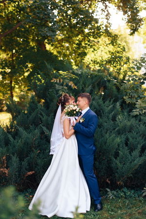 Foto de young beautiful newlywed couple on nature in summer - Imagen libre de derechos