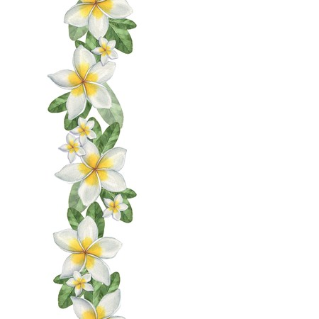 Photo pour Hawaiian flowers. Seamless border. Watercolor illustration. Hand-drawing - image libre de droit