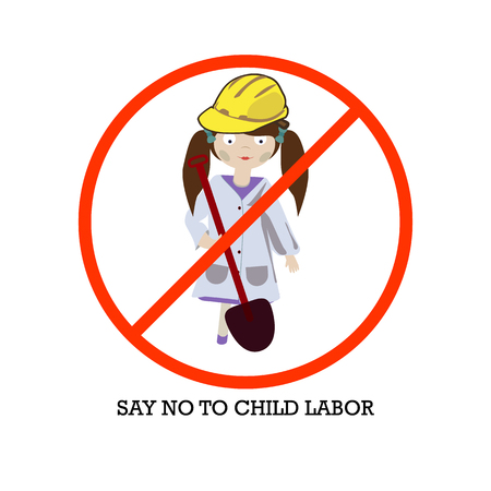 Illustration for Concept for a World Day Against Child Labour, vector on isolated background - Royalty Free Image