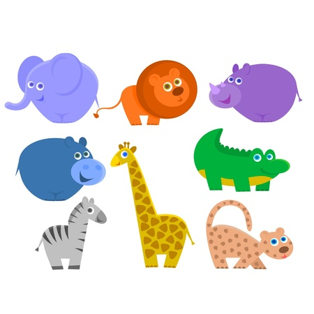 the african animals are isolated on a white background