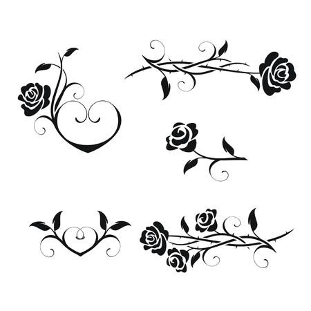 Illustration pour Rose flowers with vintage elements vector - image libre de droit