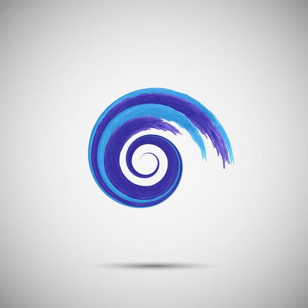 Ilustración de Blue wave logo template.  Sea surf  emblem symbol. Watercolor brush strokes.Vector illustration - Imagen libre de derechos
