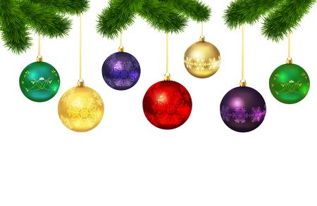 Ilustración de Christmas balls with ornament isolated  on fur-tree on white background. Vector illustration - Imagen libre de derechos