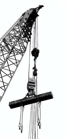 Photo for Outline silhouette of a large crane lifting a solid steel girder - Royalty Free Image