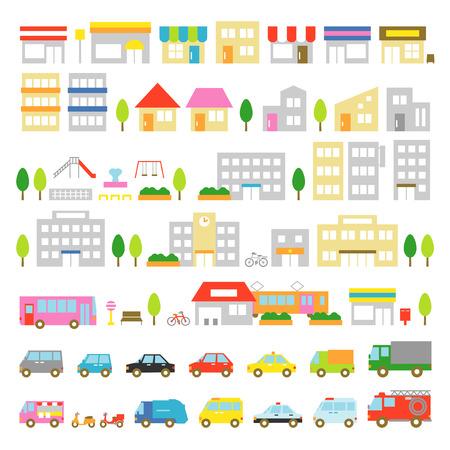 Illustration pour Town icon stores houses vehicles - image libre de droit