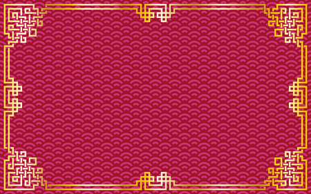 Illustration for Oriental vintage gold frame on red / purple pattern background for chinese new year celebration card, poster, banner or flyer, vector illustration - Royalty Free Image