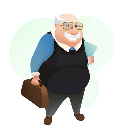 Ilustración de Smiling old man with leather bag and documents - Imagen libre de derechos