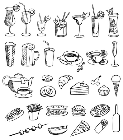food and drink vector set