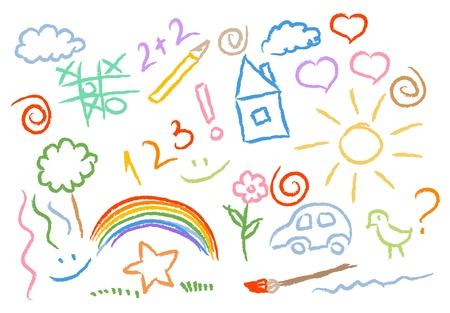 Illustration pour children drawing multicolored symbols vector set - image libre de droit