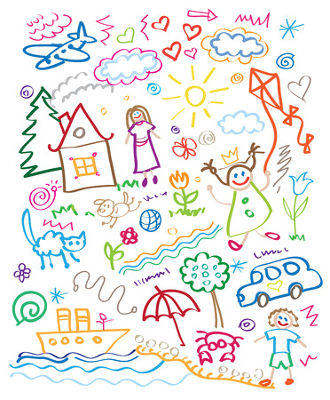 Illustration pour multicolored child drawing style set - image libre de droit
