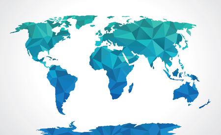 Illustration pour Blue polygonal world map  - image libre de droit