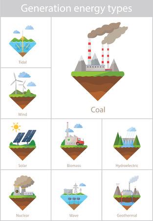 Ilustración de Power plant icon vector set - Imagen libre de derechos