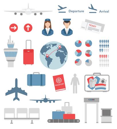 Illustration pour flat airport infographic elements and icons  - image libre de droit