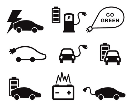 Photo for Electric car icons set - Royalty Free Image