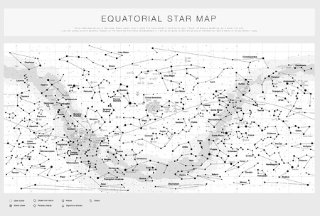 Illustration pour High detailed star map with names of stars contellations and Messier objects black and white vector - image libre de droit