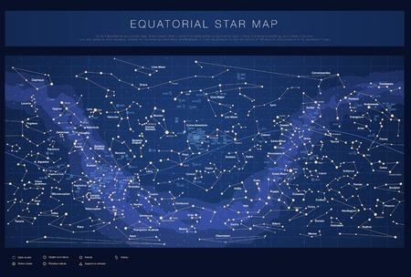 Illustration for High detailed star map with names of stars contellations and Messier objects colored vector - Royalty Free Image