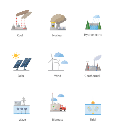 Ilustración de Power plant icon vector symbol set on white - Imagen libre de derechos
