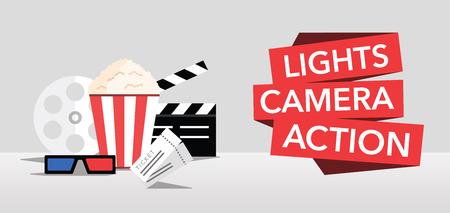 Ilustración de cinema lights camera action flat background - Imagen libre de derechos