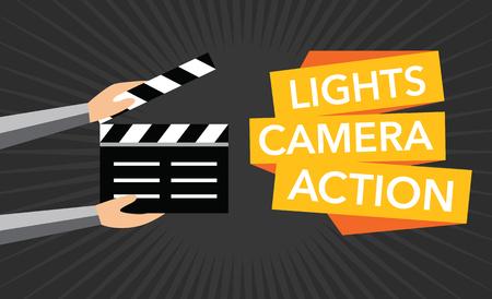 Illustration pour cinema lights camera action flat background - image libre de droit