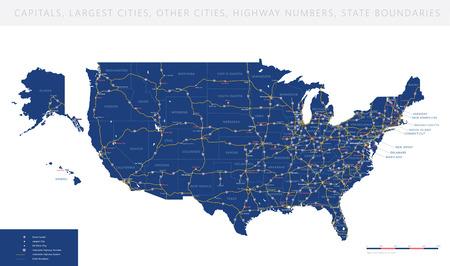 Illustration pour High detailed USA interstate road map vector - image libre de droit