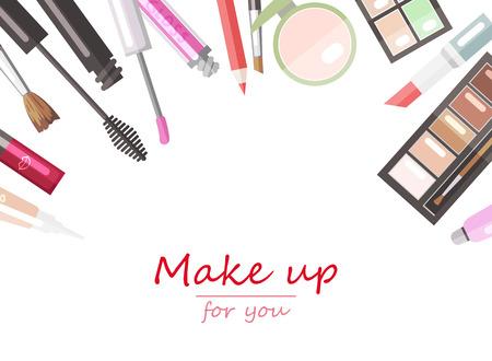 Illustration pour Makeup beauty products flat vector background template - image libre de droit
