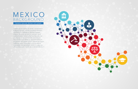 Illustration for Mexico dotted vector background conceptual infographic report - Royalty Free Image