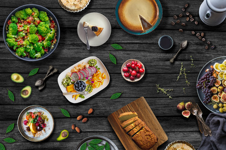 Foto de Mediterranean Food Table. Healthy Meal Concept - Imagen libre de derechos