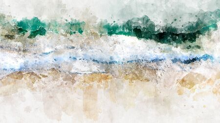 Foto per Abstract watercolor ocean blue sea wave. Creative abstract painted background, wallpaper, texture. Modern art. Contemporary art. - Immagine Royalty Free