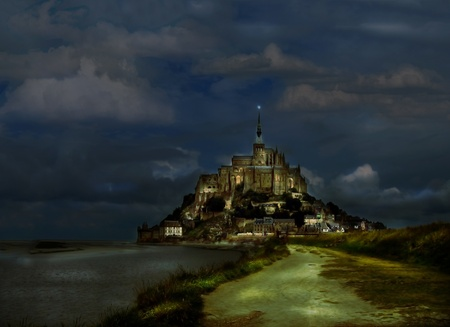Photo for Mystery view of Mont Saint Michel abbey in Normandy, France - Royalty Free Image