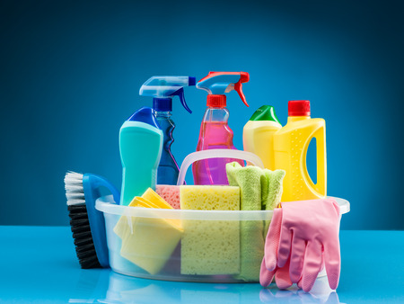 Photo for cleaning products and supplies in basket - Royalty Free Image