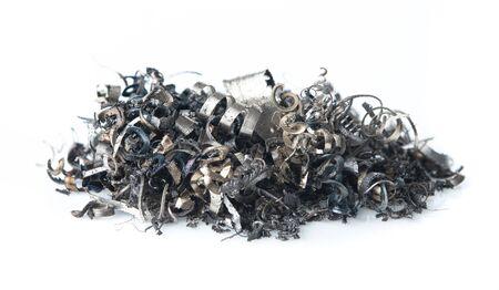 Foto de Pile of scrap metal shavings isolated on white background - Imagen libre de derechos
