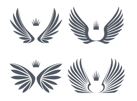 Illustration for Set of four pairs of wings with crowns.  - Royalty Free Image