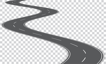 Illustration pour Vector winding road isolated on transparent background. - image libre de droit