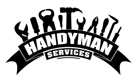 Ilustración de Handyman services vector design for your logo or emblem with bend banner and set of workers tools in black. There are wrench, screwdriver, hammer, pliers, soldering iron, scrap. - Imagen libre de derechos