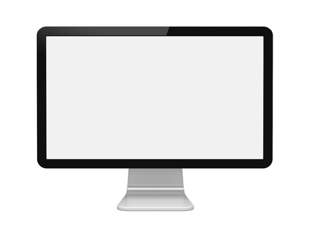 Foto de Computer wide monitor with a blank screen. Isolated on a white. 3d image - Imagen libre de derechos