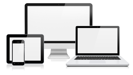 Foto de Computer monitor, laptop, tablet pc,  and mobile smartphone with a blank screen. Isolated on a white. 3d image - Imagen libre de derechos
