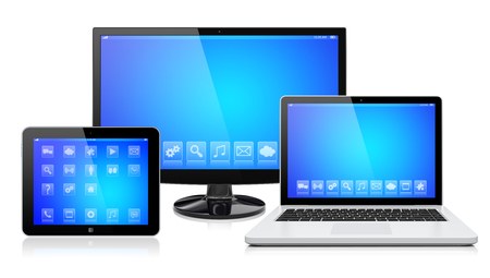 Foto de Computer monitor, laptop and tablet pc, with a blue screen and apps. Isolated on a white. 3d image  - Imagen libre de derechos